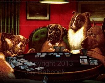 Dogs Playing Magic - Vinyl Game Mat