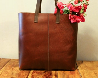 Sale!!! brown leather tote bag Large Leather handbag Leather bucket bag Vintage Brown Tote, brushed sturdy handmade with love!