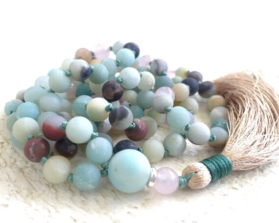 Amazonite And Silk Tassel Mala, Knotted Mala Necklace, Gemstone Mala, Meditation Necklace, Yoga Beads, Rose Quartz Mala, Prayer Beads