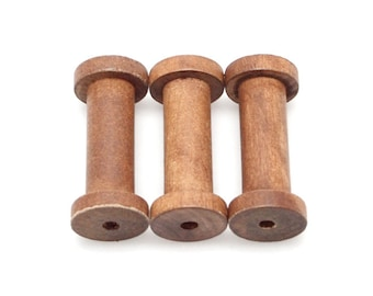 Vintage Wooden Spools, Bead, 2-3/4-inch, 3-pack