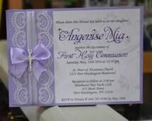 Lace wedding invitation, violet wedding invitation, flower wedding invitation, vintage invitation, Baby Shower, Baptism, Christening