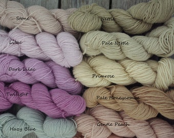 50g skein Organic Wool 3ply yarn from our flock of Herefordshire Lleyn sheep, gently plant-dyed