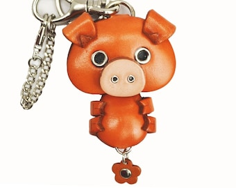 Pig Leather 3D Leather Animal Bag Charm Keychain Keyring Mascot Accessory *VANCA* Made in Japan #26004 Free Shipping