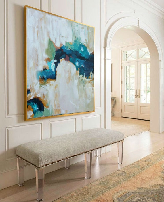 Hand painted large original painting abstract by for Dining room paintings sale