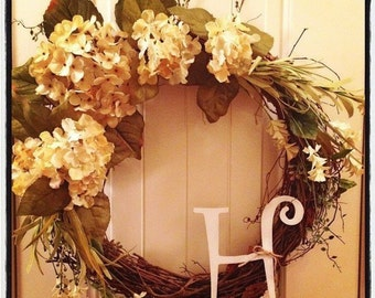 Grapevine wreath with initial