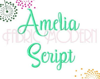 "SCRIPT FONT Embroidery Design, Upper and Lower Case, Swashes and Swirls,  1"", 1.5 "" and 2"", #622"