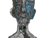 GREAT GOD PAN - Hand Built Stoneware Head Vessel with Glaze, Signed, 2013