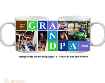 Personalized Grandpa/ Papa Block Photo Coffee Mug