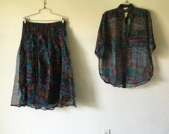 Vintage Blouse and Skirt Set