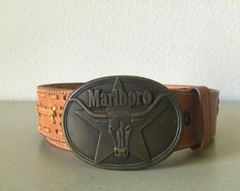 Vintage 1987 Marlboro Buckle Leather Belt Advertising