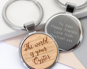 Travel Quote Keyring, The World Is Your Oyster Keyring, Congratulations Gift, Going Away Gift, Leaving Gift, Graduation Gift, Well Done Gift