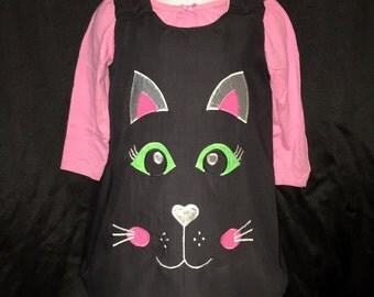 Handmade Kitten Cat Toddler Dress - Tunic Reversible - Black and White Cat