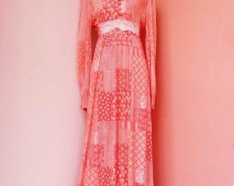 Vintage 70's Red Polyester Hippie Boho Maxi Dress