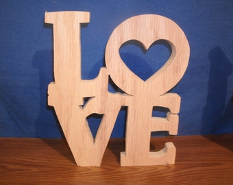 """wooden love, wooden letters 8"""" Love  free standing,wedding letters, unfinished style # 2"""