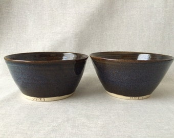 Pair of bowls in Midnight - Glossy Black