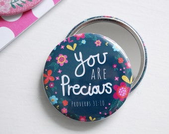 Compact Mirror - You are Precious | Biblical Gifts | Gifts for Women | Birthday Gifts | Pocket Mirror | Stocking Filler | Encouragement gift
