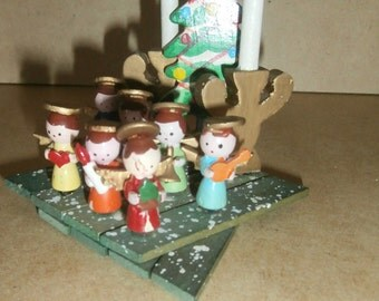 Vintage Christmas wooden expandable angels candelabras Foreign Japan made of wood decoration ornament