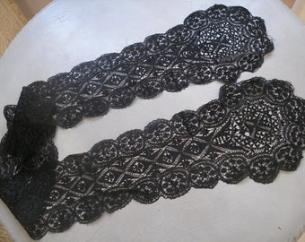Victorian black Maltese lace lappets or scarf, mourning