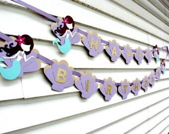 Mermaid Happy Birthday Banner, Mermaid Party Decorations, Mermaid Birthday Party, Under the Sea Party