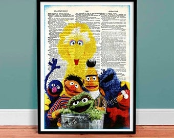 Collectable Keepsake - Kids Art - Sesame Street Dictionary Page Art - Dorm Wall Art - Gift under 20 - Kids Decor - Nursery Decor - Baby Gift