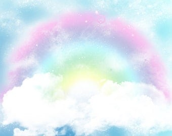 Vintage Clouds Rainbow Photo Backdrop, Dreamlike Photography Backdrop, Newborns Children Family photobooth background XT-3828