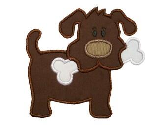 Dog with Bone Applique Machine Embroidery Design Animal