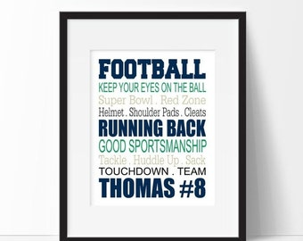 ON SALE Football Wall Art - Football Decor - Football Typography - Personalized Football Print - Playroom Decor - Sports Decor - Kids Room D