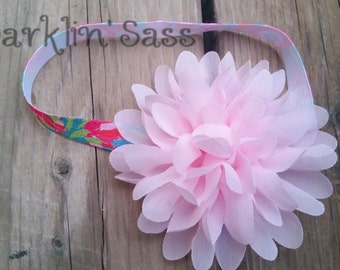 Girls Headband, Baby Girl Headband, Pale Pink Headband, Toddler Headband, Pink Flower Headband, Birthday Headband, Photo Prop, Pink Flower