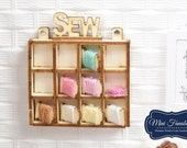 Hanging shelf display- miniature handmade Dollhouse 1:12, sewing room, craft, decoration