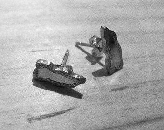"""6N6 - Boucles d'oreilles puces """"ailles effet sable"""" en argent véritable"""