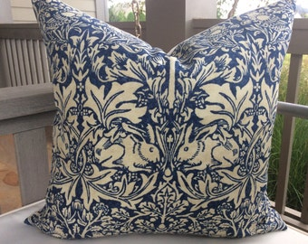 "William Morris ""Brer Rabbit"" in indigo and off white pillow cover"