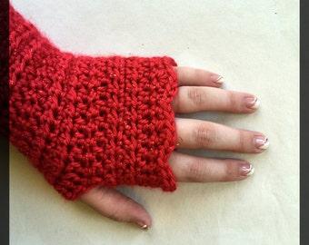 Red Glitter Fingerless Gloves