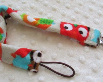 Pacifier Clip - Owls Pacifier Clip - Paci Clip - Minky Pacifier Clip - Binky Clip