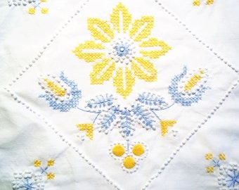 Hand Embroidered Vintage Pillow Cover -  Yellow - White - Blue