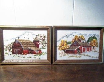 Two Completed Embroideries - Sunset Design - 1977 - Framed