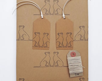 "Black Cats Gift Wrap Kit (Essentials Option): 1 Sheet Kraft Wrapping Paper (50cm x 70cm / 19.5"" x 27.5""), 2 Gift Tags, 5m Hemp Twine."