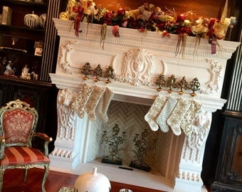 Christmas Mantel Garland Swag, Lighted, SHIPPING INCLUDED, Elegant Old World Luxury Designer Garland, Mantel Wreath, Large Holiday Decor