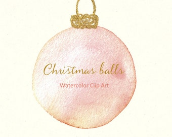 Christmas balls. Watercolor clip art hand drawn. Winter watercolor, golden arrow,golden bow, watercolor feather, crown wedding invitation.