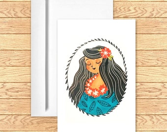 Greeting Card (Inside Blank) Hula Girl