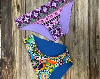 JOJO-Moderate Coverage Reversible Bikini Bottom By BonVie Bikinis- Made to Order // Gift for her // Womens // Beautiful