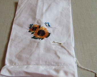 Butterflies on sunflower guest towel