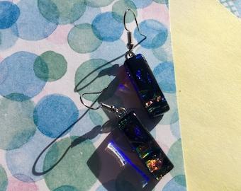 Fused Glass Earrings In Midnight Blue