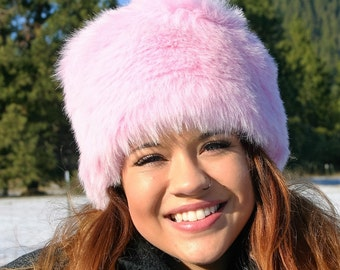 Russian style Ice Pink faux fur Cossack hat
