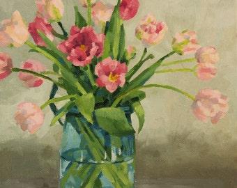 Tulips, pastel oil painting, handmade, original art