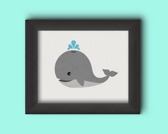 Whale Print, 8x10 printable wall art, nursery art, Whale Nursery