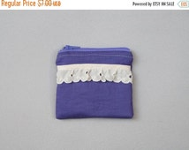 SALE Small purple coin purse with white lace trim   tiny zipper pouch   cute gift idea for her   gifts under 10   one of a kind & eco friend