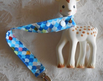 BatesCreates Sophie the Giraffe leash, tether, toy - 100% cotton fabric - topstitched (BLUE SHINGLES)