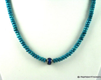 Turquoise Necklace, Blue Turquoise, Handmade Necklace, Thermal Bead, Silver 925, Silver Steel, Turquoise Choker, Fathers Day Gift, for HER