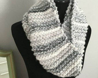 Gray and white hand knit infinity scarf