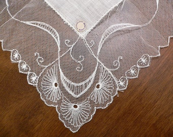 Vintage New With Tag Irish Linen White Hanky Trimmed with Embroidered Net, Bridal Wedding Hankie